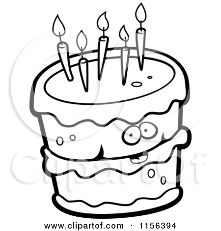 Cartoon Clipart Of A Black And White Birthday Cake Character With
