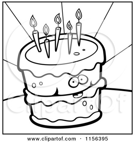 Cartoon Clipart Of A Black And White Birthday Cake Face Vector