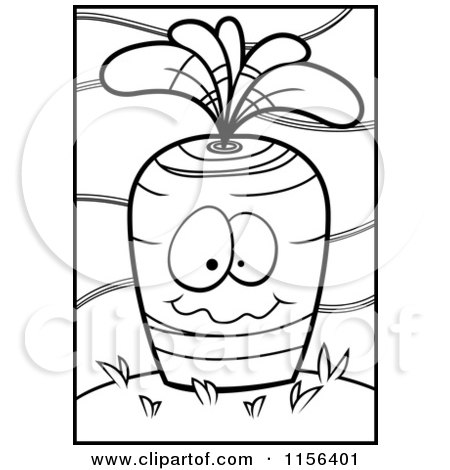 Cartoon Clipart Of A Black And White Carrot Face Planted in the Ground - Vector Outlined Coloring Page by Cory Thoman