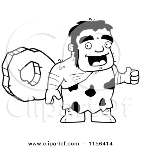 Black And White Stalky Caveman Character Standing by a Rock Wheel Posters, Art Prints