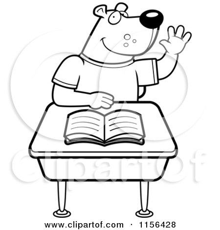 Clipart smart school boy sitting at a desk with an a plus for Student coloring page