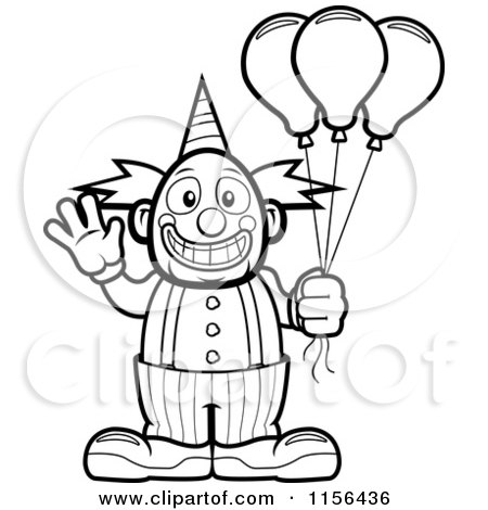 Cartoon Clipart Of A Black And White Friendly Waving Circus Clown ...