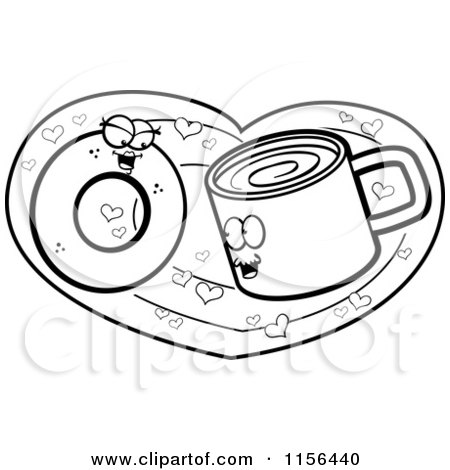 Cartoon Clipart Of A Black And White Coffee Cup and Donut in Love on a Heart - Vector Outlined Coloring Page by Cory Thoman