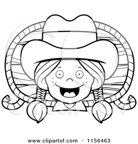 Cartoon Clipart Of A Black And White Happy Cowgirl with Braids over a Wood Plaque and Rope - Vector Outlined Coloring Page by Cory Thoman