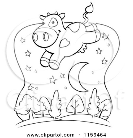 Cartoon Clipart Of A Black And White Crescent Moon Running