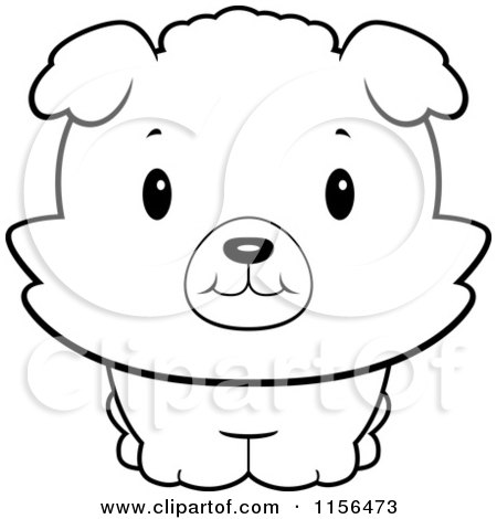 Cartoon Clipart Of A Black And White Baby Bichon Puppy Smiling Upwards - Vector Outlined Coloring Page by Cory Thoman