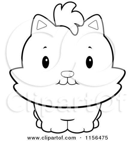 Cartoon Clipart Of A Black And White Chubby Kitten Facing Front - Vector Outlined Coloring Page by Cory Thoman