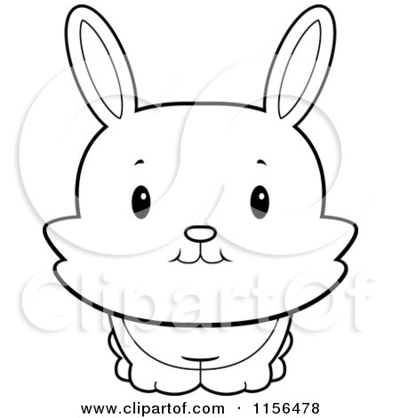 Cartoon Clipart Of A Black And White Cute Bunny Rabbit ...