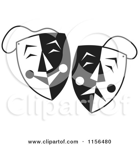 Clipart Illustration of Two Red Theater Mask Emoticons by MilsiArt ...