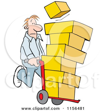 Cartoon of a Man Using a Hand Truck Dolly to Move Boxes - Royalty Free Vector Illustration by Johnny Sajem