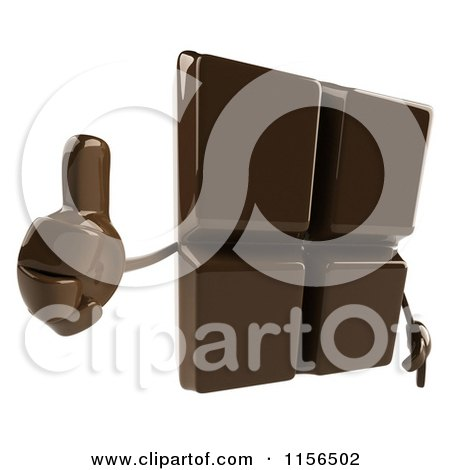 Clipart of a 3d Chocolate Mascot Holding a Thumb up - Royalty Free CGI Illustration by Julos