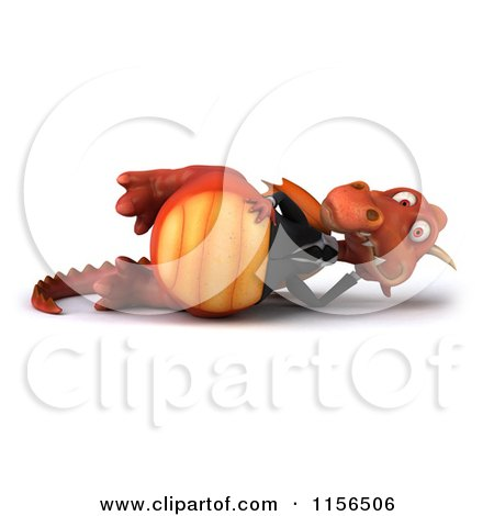 Clipart of a 3d Red Business Dragon Reclined - Royalty Free CGI Illustration by Julos