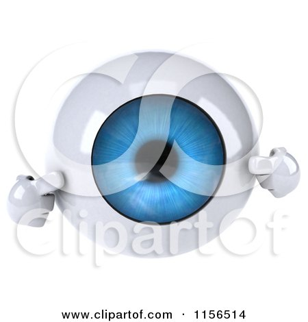 Clipart of a 3d Blue Eyeball Mascot Pointing to Its Iris - Royalty Free CGI Illustration by Julos