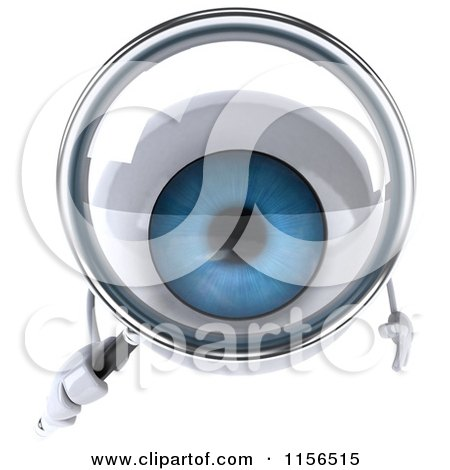 Clipart of a 3d Blue Eyeball Mascot Using a Magnifying Glass - Royalty Free CGI Illustration by Julos
