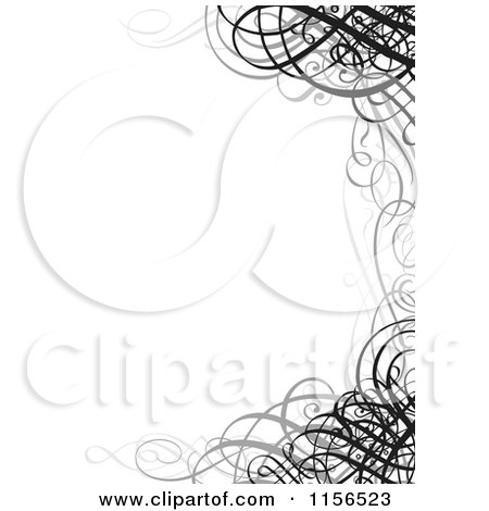 Clipart of a Grayscale Ornate Swirl Wedding Invitation Border - Royalty Free Vector Illustration by BestVector