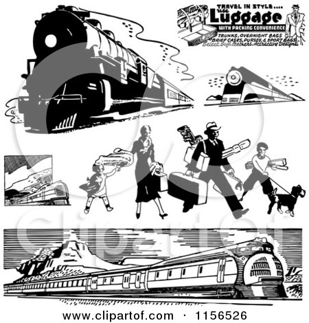 Clipart of Black and White Retro Trains and Traveling Family - Royalty Free Vector Clipart by BestVector