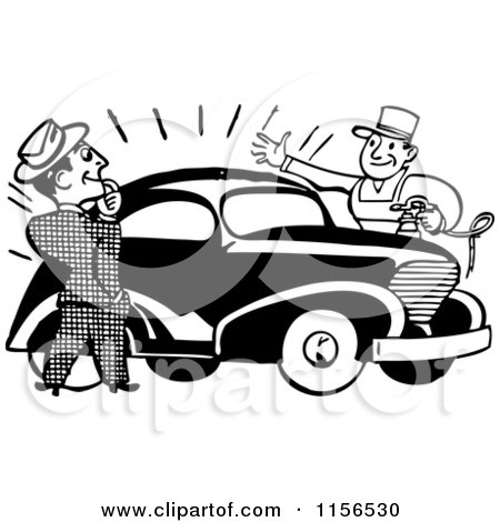 Clipart of a Black and White Retro Man Admiring a Car - Royalty Free Vector Clipart by BestVector