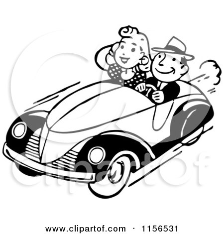 Clipart of a Black and White Retro Couple Cruising - Royalty Free Vector Clipart by BestVector