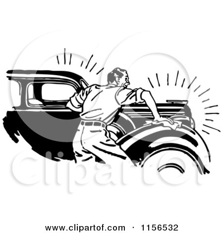 Clipart of a Black and White Retro Man Waxing a Car - Royalty Free Vector Clipart by BestVector