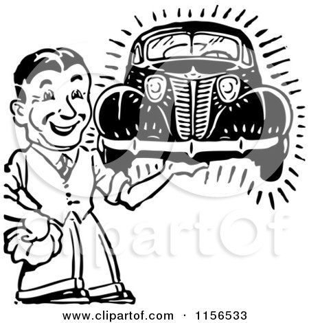 Clipart of a Black and White Retro Man Holding a Car - Royalty Free Vector Clipart by BestVector