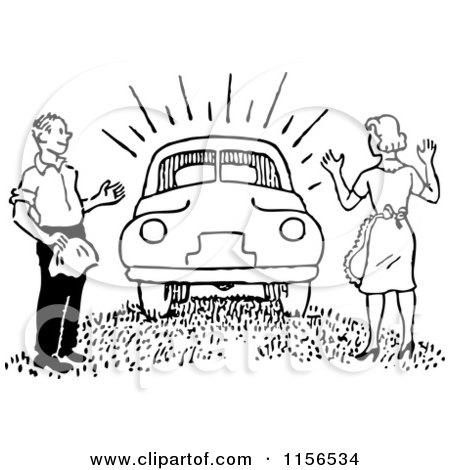 Clipart of a Black and White Retro Man Surprising a Woman with a New Car - Royalty Free Vector Clipart by BestVector