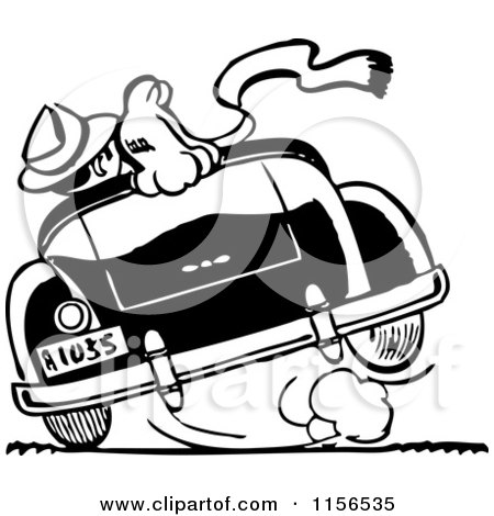 Clipart of a Black and White Retro Couple Cruising 2 - Royalty Free Vector Clipart by BestVector