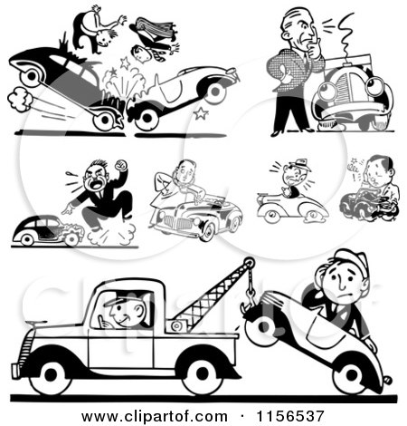 Clipart of Black and White Retro Car Wrecks and Towing - Royalty Free Vector Clipart by BestVector