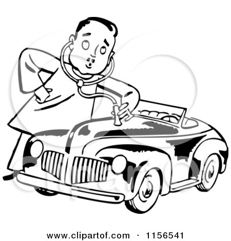 Clipart of a Black and White Retro Mechanic Man Giving a Car a Check up - Royalty Free Vector Clipart by BestVector