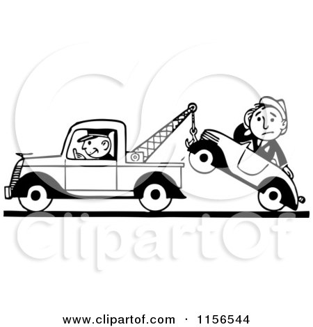 Clipart of a Black and White Retro Tow Truck Driver and Man in a Car - Royalty Free Vector Clipart by BestVector