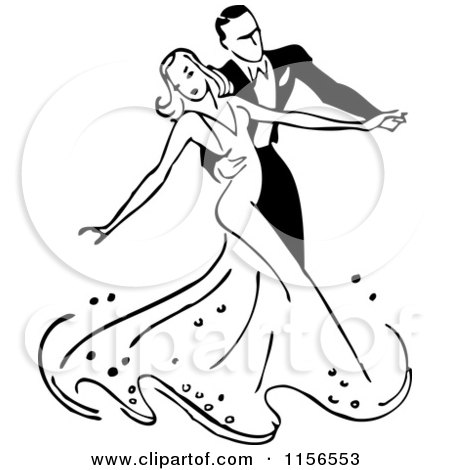 Clipart of a Black and White Retro Couple Ballroom Dancing 2 - Royalty Free Vector Clipart by BestVector