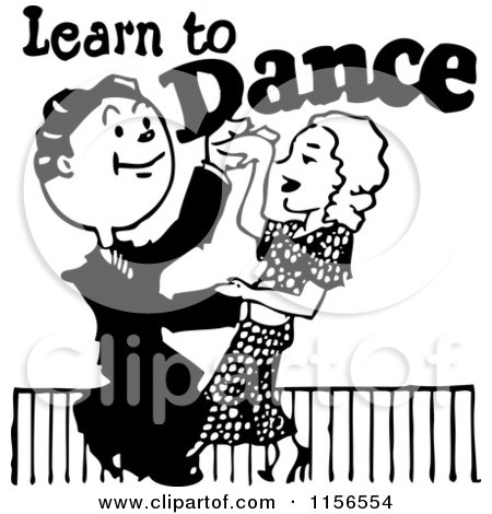 Clipart of a Black and White Retro Couple Learning to Dance - Royalty Free Vector Clipart by BestVector