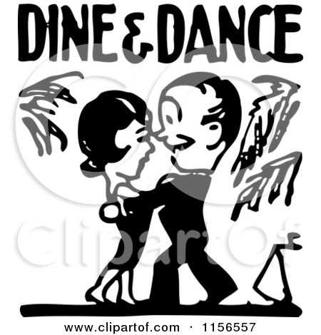 Clipart of a Black and White Retro Couple Under Dine and Dance Text - Royalty Free Vector Clipart by BestVector