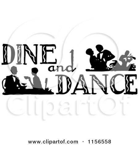 Clipart of a Black and White Retro Dine and Dance Sign - Royalty Free Vector Clipart by BestVector