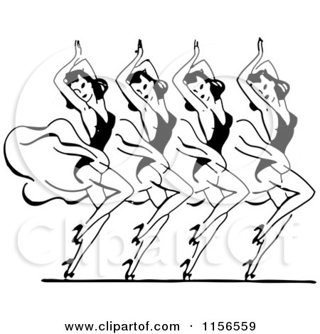 Clipart of a Black and White Retro Group of Dancing Women - Royalty Free Vector Clipart by BestVector