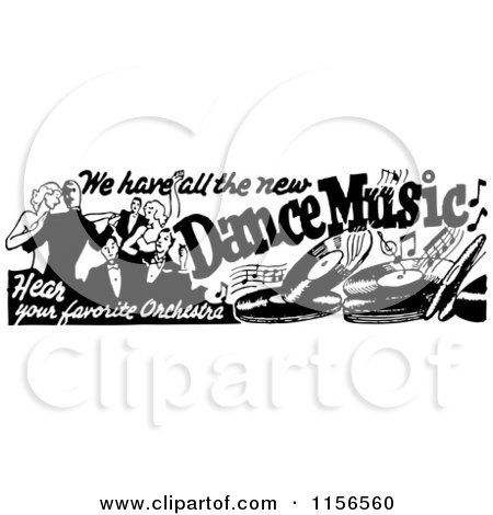 Clipart of a Black and White Retro Dance Music Banner - Royalty Free Vector Clipart by BestVector