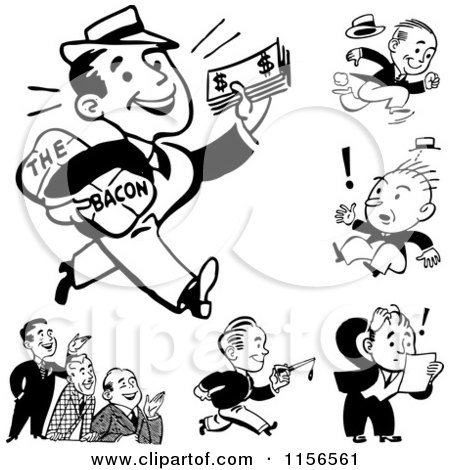 Clipart of Black and White Retro Men - Royalty Free Vector Clipart by BestVector