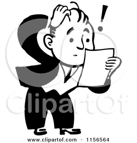 Clipart of a Black and White Retro Shocked Man Reading a Letter - Royalty Free Vector Clipart by BestVector