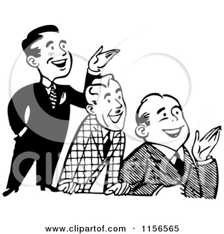 Black and White Retro Group of Happy Men Presenting Posters, Art Prints