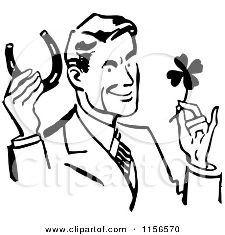 Clipart of a Black and White Retro Good Luck Man with a Horseshoe and Four Leaf Clover - Royalty Free Vector Clipart by BestVector