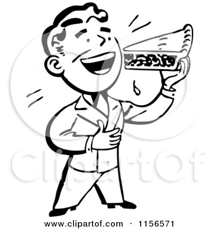 Clipart of a Black and White Retro Man Eating a Slice of Pie - Royalty Free Vector Clipart by BestVector