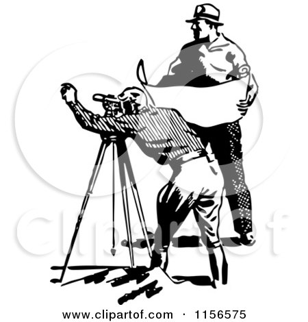 Clipart of a Black and White Retro Construction Surveyor and Engineer - Royalty Free Vector Clipart by BestVector