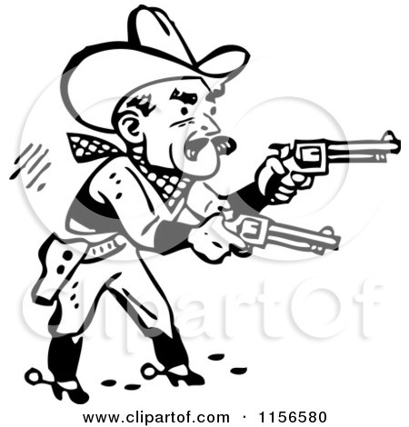 Clipart of a Black and White Retro Western Cowboy Shooting Pistols - Royalty Free Vector Clipart by BestVector