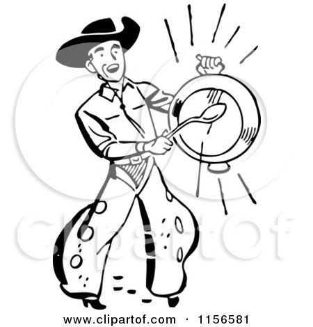 Black and White Retro Western Cowboy Banging a Metal Dish Posters, Art Prints