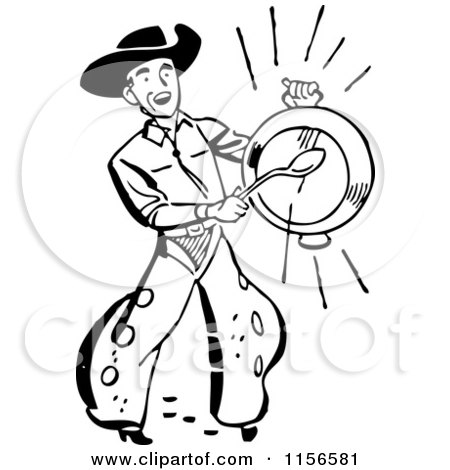 Clipart of a Black and White Retro Western Cowboy Banging a Metal Dish - Royalty Free Vector Clipart by BestVector