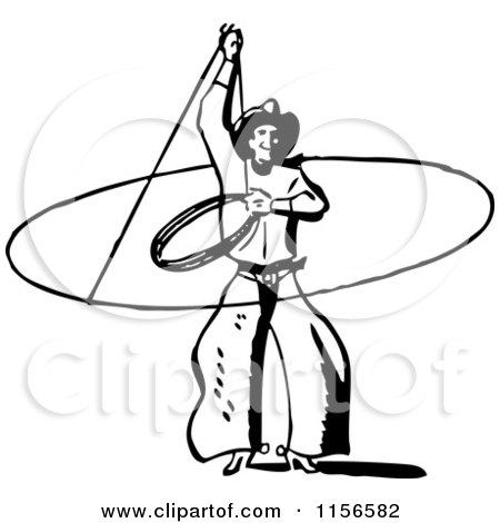 Clipart of a Black and White Retro Western Cowboy Swinging a Lasso - Royalty Free Vector Clipart by BestVector