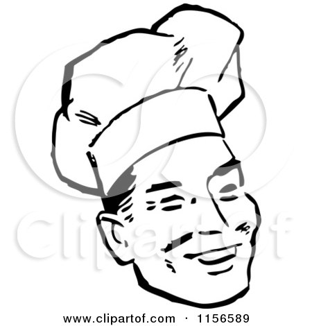 Clipart of a Black and White Retro Male Chef Smiling - Royalty Free Vector Clipart by BestVector