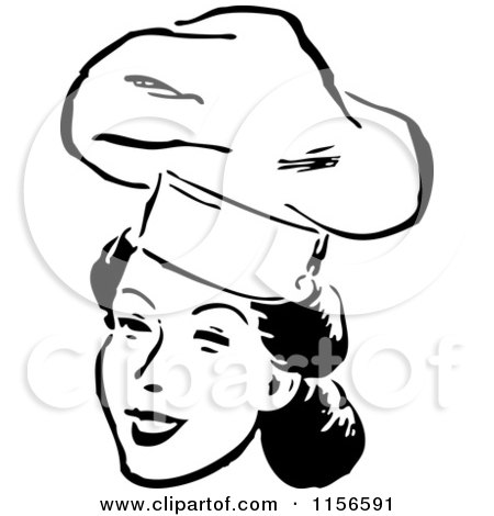 Clipart of a Black and White Retro Female Chef Smiling - Royalty Free Vector Clipart by BestVector