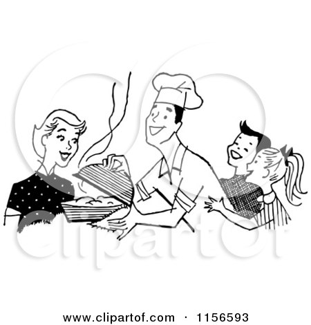 Clipart of a Black and White Retro Chef Dad Serving His Family - Royalty Free Vector Clipart by BestVector