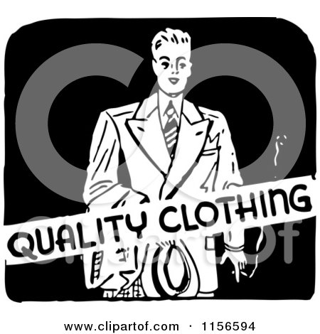 Clipart of a black and white retro mens quality clothing for Best quality mens white t shirts