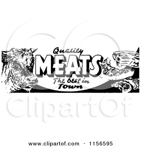 Clipart of a Black and White Retro Meat Grocery Sign 2 - Royalty Free Vector Clipart by BestVector